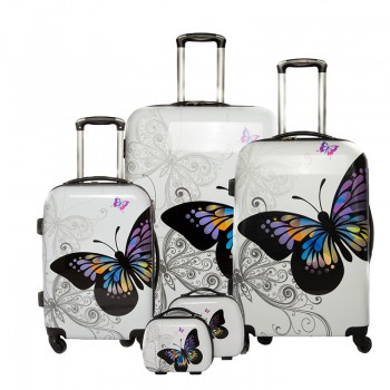 "Set de 3 valises + 2 vanity Polycarbonate - Trolley ADC ""Butterfly"""
