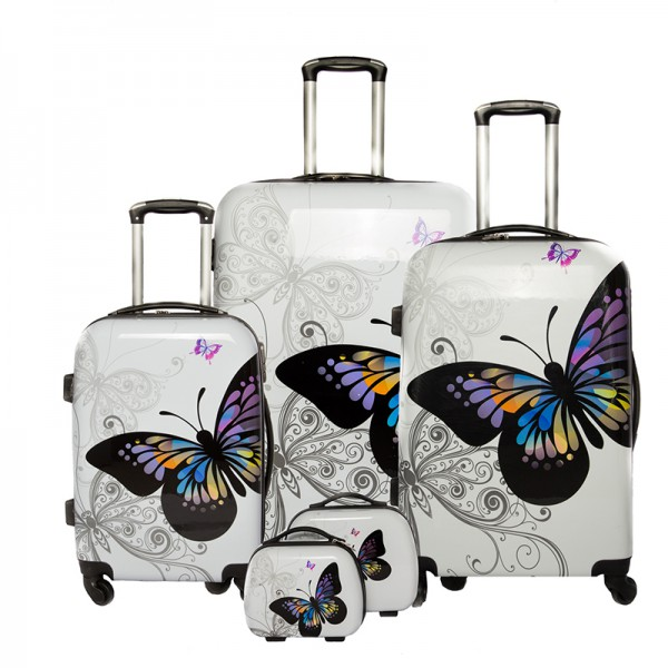 """Set de 3 valises + 2 vanity Polycarbonate - Trolley ADC """"Butterfly"""""""
